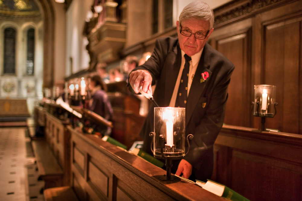 Lighting a candle in Chapel; Credit: Dan White