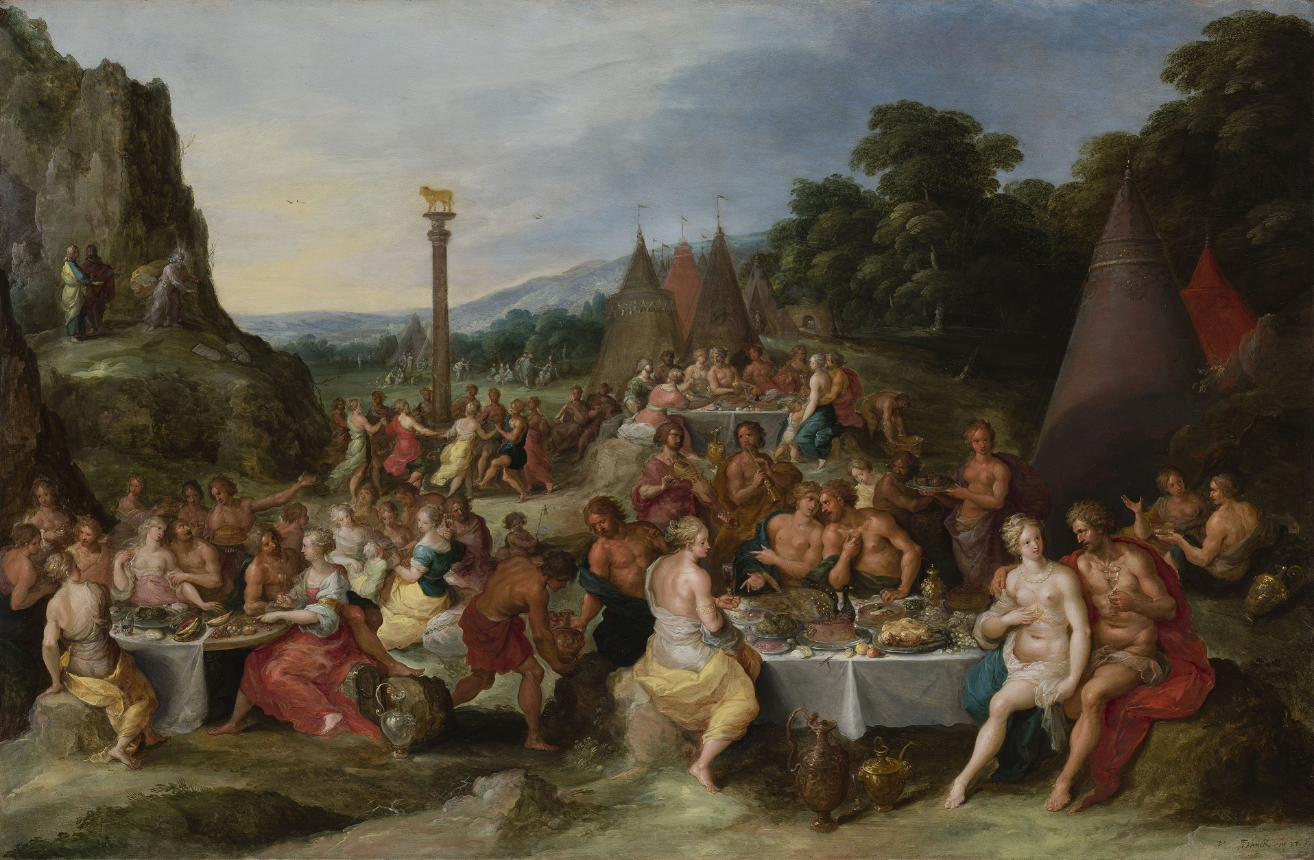 Worship of the Golden Calf by Frans Francken the Younger c.1630-35, oil on panel. The theme of abundance is central to this painting and others which inspired the exhibition's historical recreation of a Baroque feasting table.