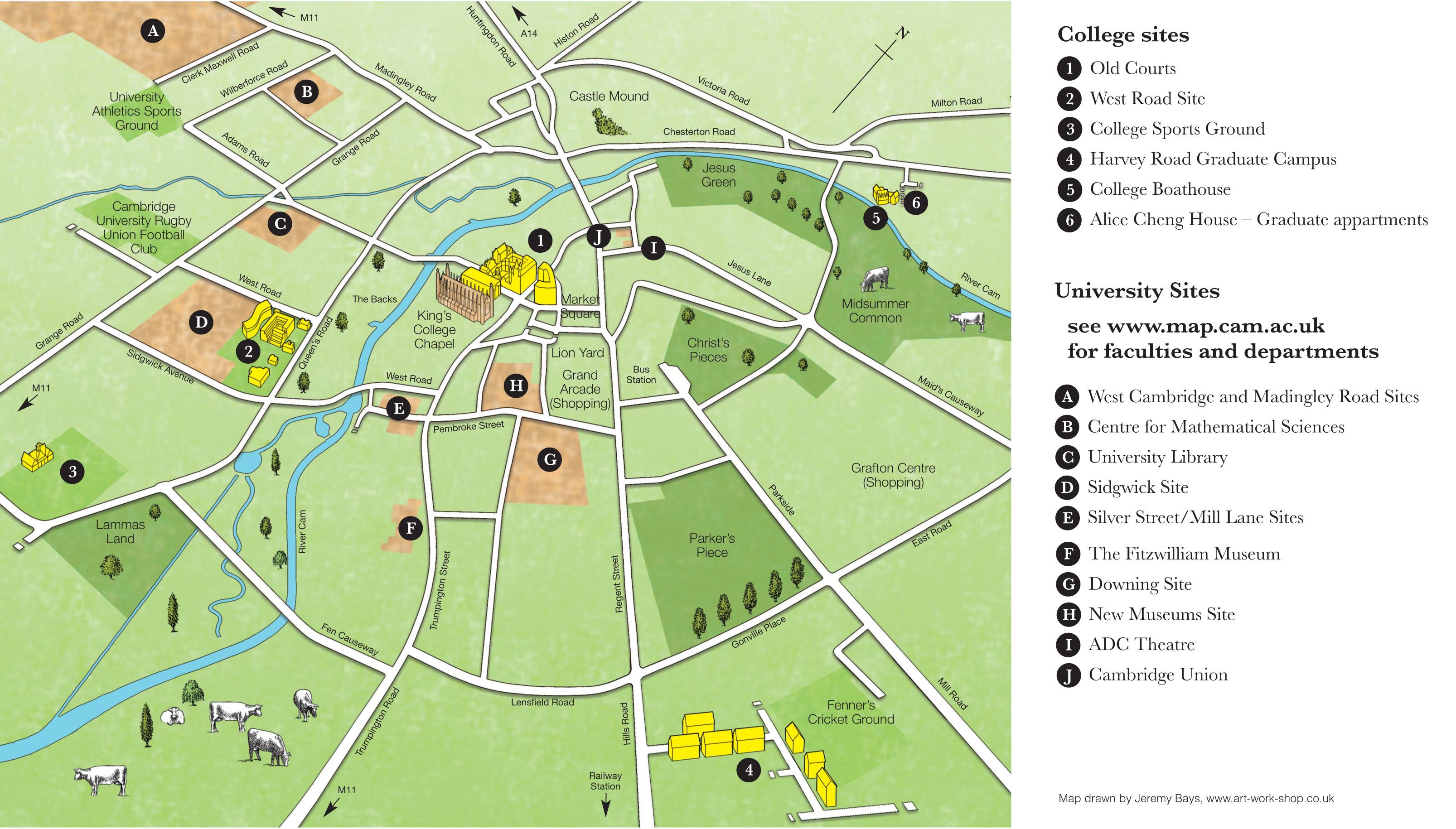 Cambridge University Map City map   University sites | Gonville & Caius