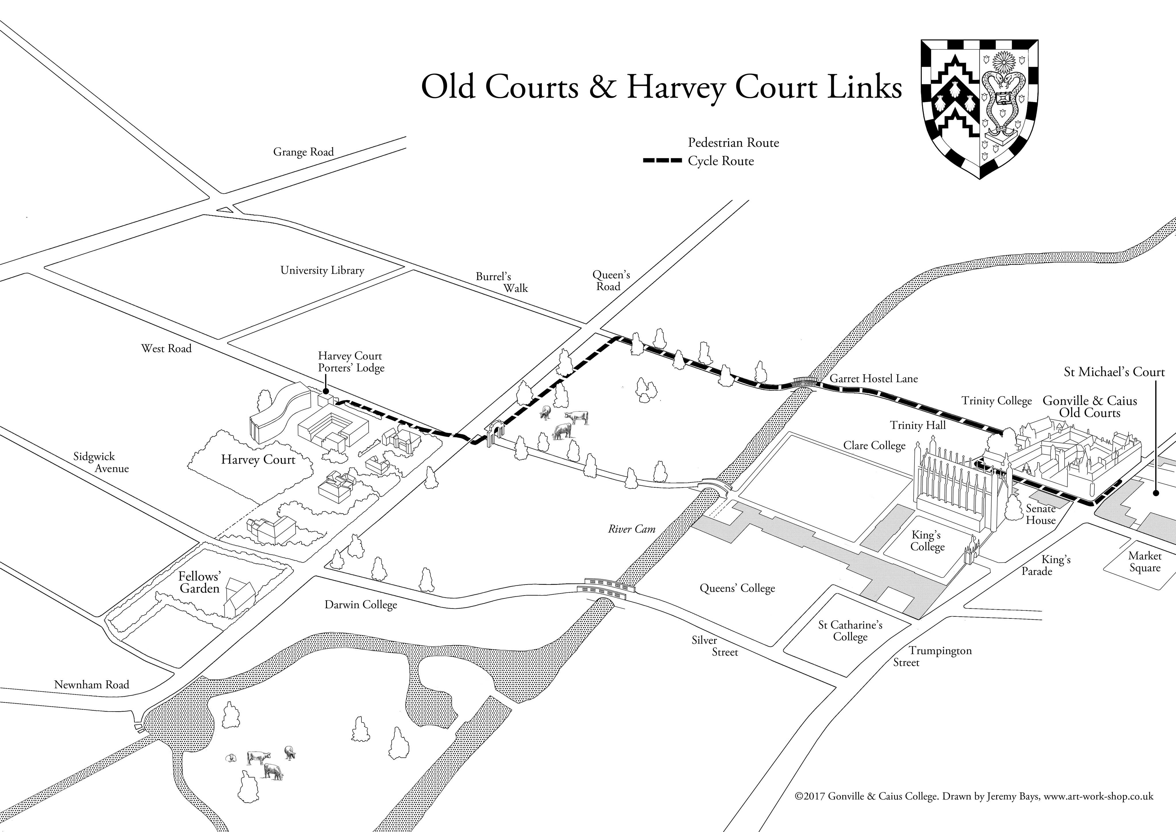 Walking route between Caius sites | Gonville & Caius on map a course, map a process, map a run, map a drive, map a path, map a distance, map a cut,