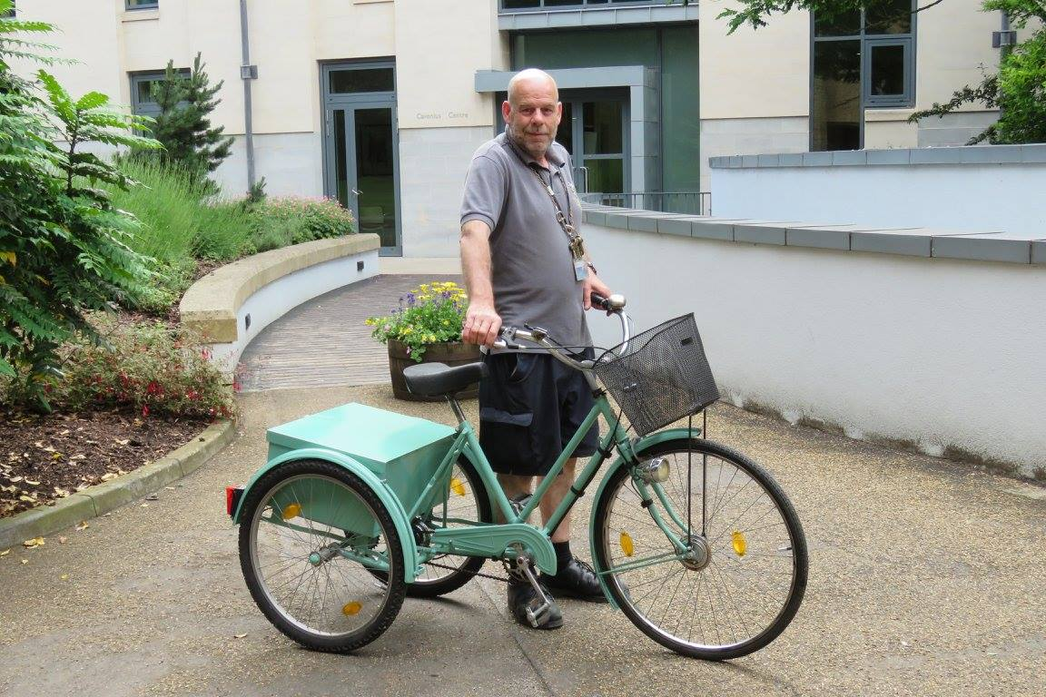 Gordon Ellis with restored college tricycle