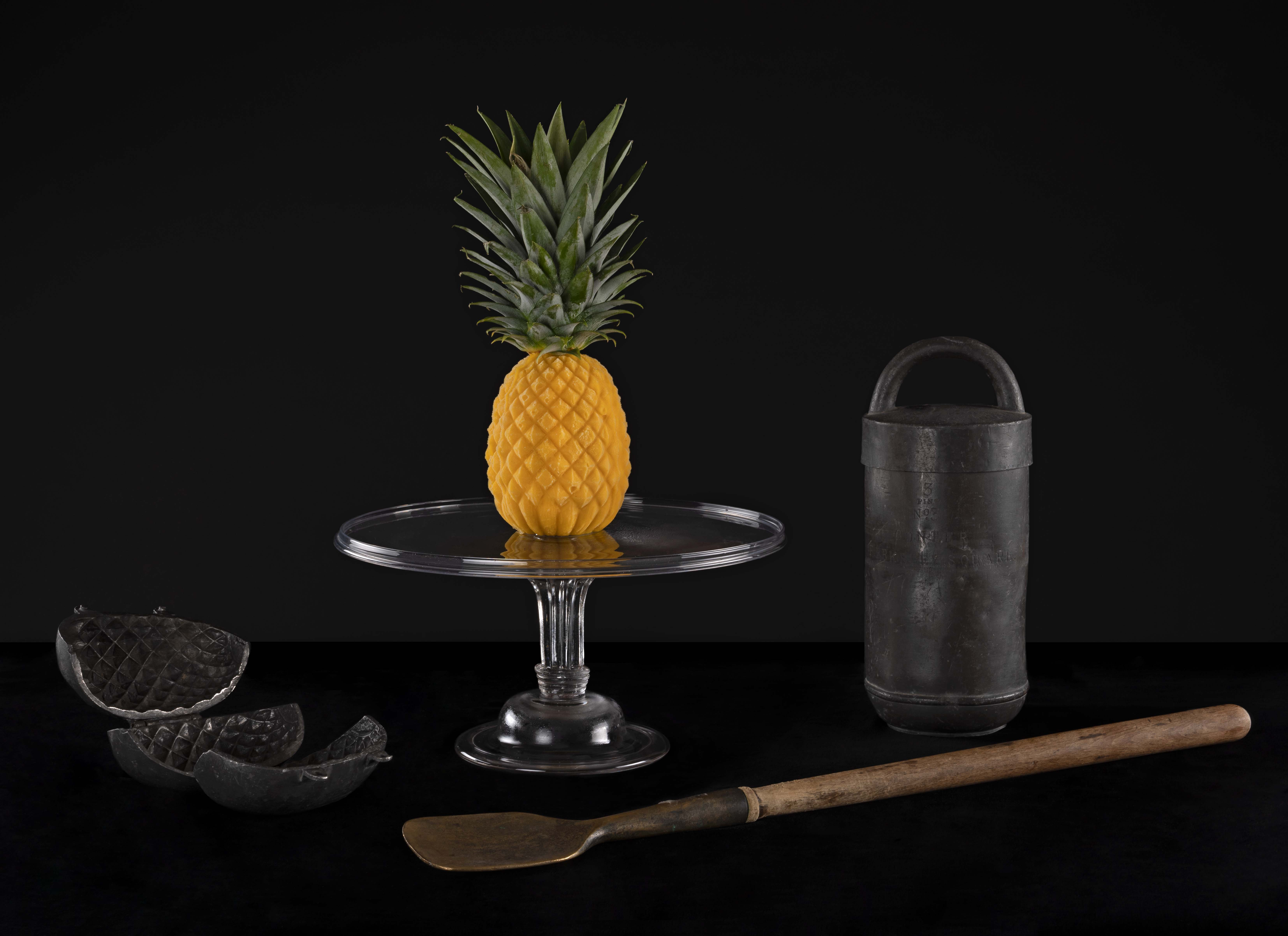 Ice cream pineapple made by Ivan Day, using an eighteenth century English pewter mould.