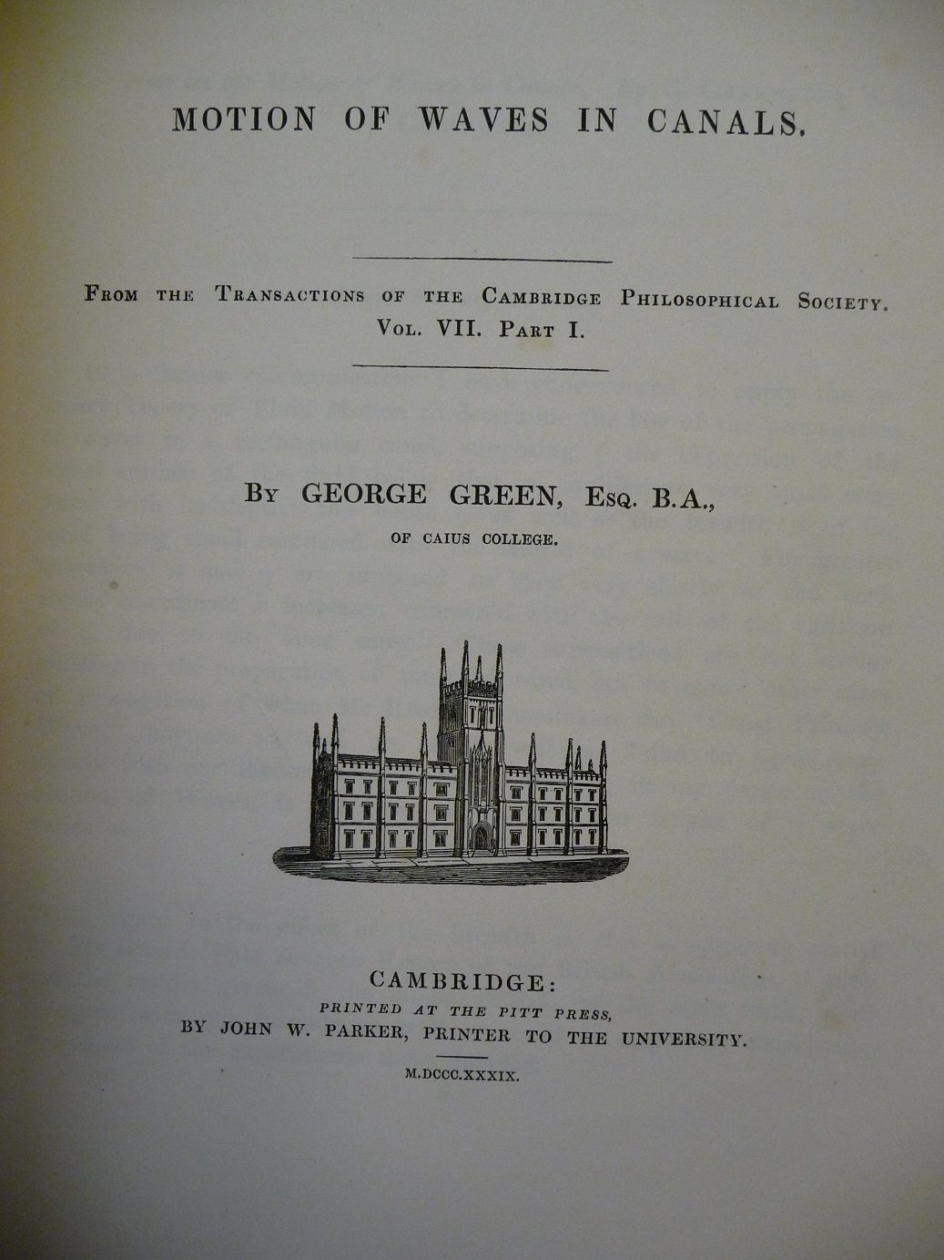 An image of a page from 'Motion of Waves in Canals' by George Green.