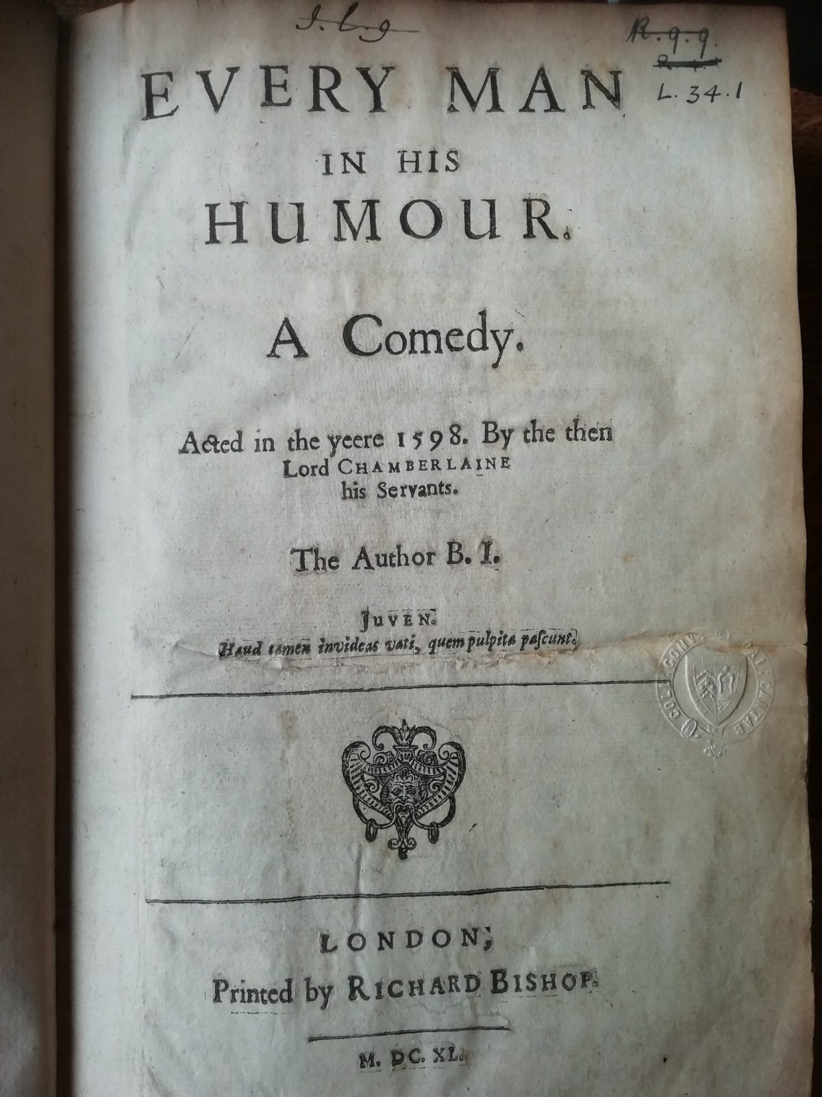 Every Man in his Humour title page