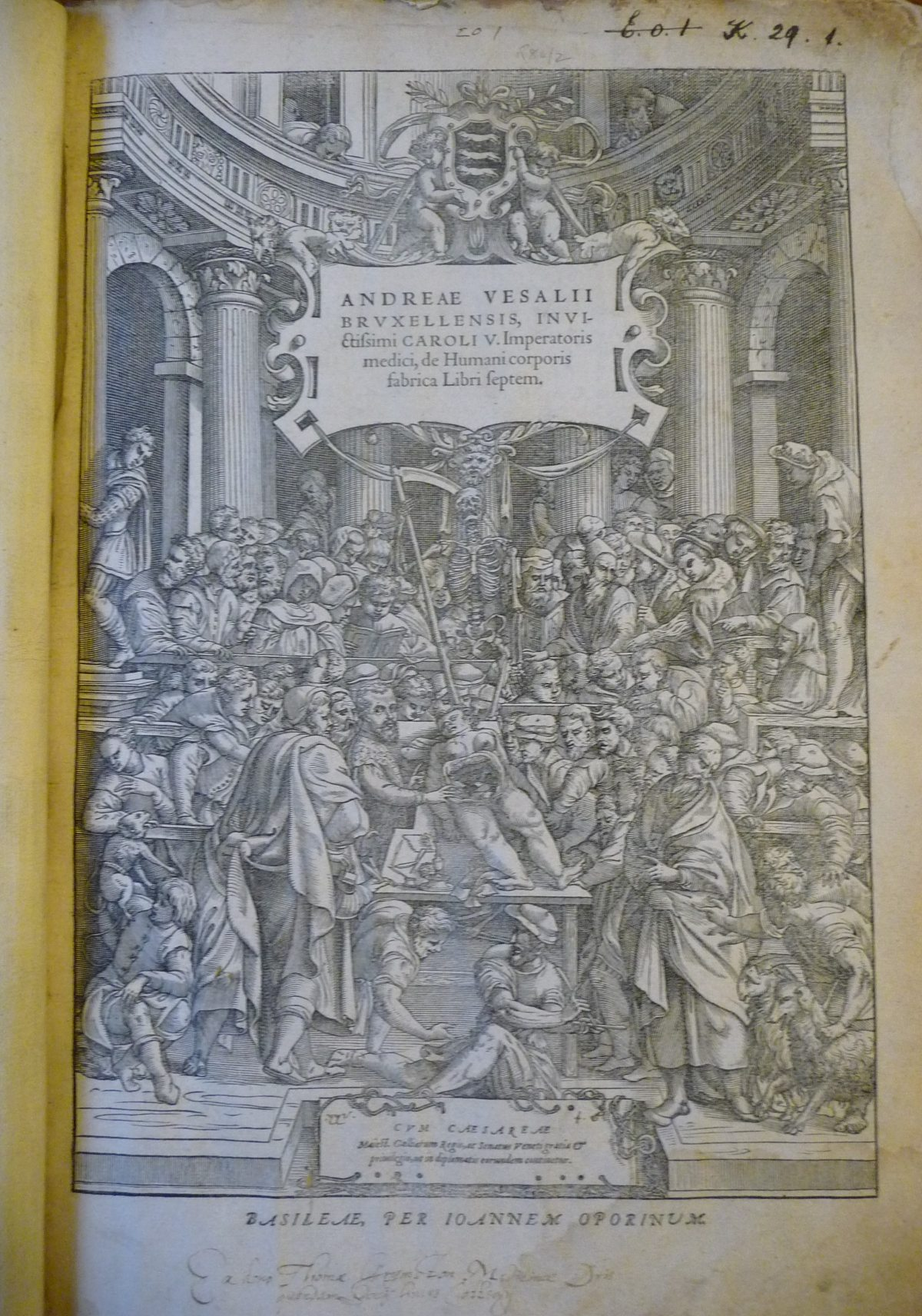 Title page from 'De humani corporis fabrica' (The fabric of the human body) by Andreas Vesalius.