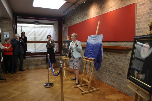 Dr Pippa Rogerson saying a few words before unveiling the portrait.